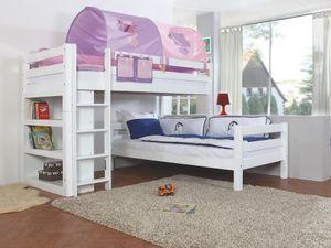 Relita - Etagenbett Beni L Buche massiv weiß lackiert, 2 Liegeflächen über Eck, mit Stoffset purple/rosa