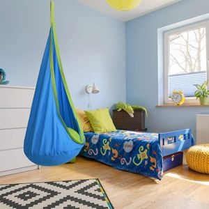 Hängehöhle Kinder, Hängesessel mit Haken und Seile, bis 80kg Belastbar, Farbwahl, 130 x 70 cm (Blau)