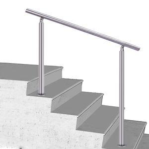 Treppengeländer Edelstahl Geländer Balkongeländer, 120cm, ohne Querstäbe, Handlauf für Innen Außen