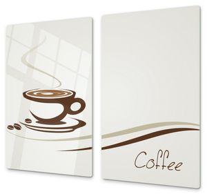 Spritzschutz Herdabdeckplatte Schneidebrett aus Glas Kaffeetasse digital, Anzahl Teile:2-Teilig