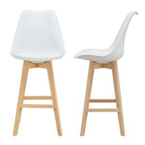 Barhocker 2er Set Barstuhl mit Rückenlehne Bistrohocker mit gepolsterter Sitzfläche Tresenhocker mit Holzgestell Buche-Gestell Weiß [en.casa]