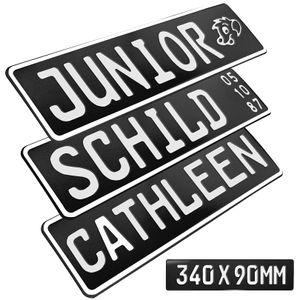 1x Kennzeichen Schwarz glanz Junior Bobby Car Kettcar Wunschtext FUN Kennzeichen Funschild