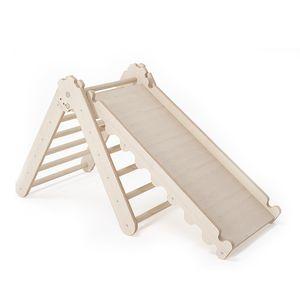 Triangle Dreieck mit Rutsche für Kinder | Nachhaltig Kletterdreieck für Kleinkinder mit Rutsche aus natürlichem Holz