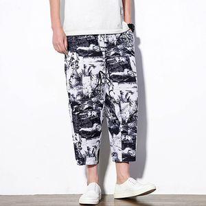 Herren Sommer Mode Freizeit Ethnischen Stil Drucken Leinen Lose knöchellange Hose Größe:XXL,Farbe:Weiß