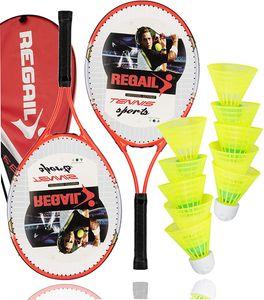 Speedbadminton Schläger Set inkl. Federbälle Badmintonbälle für Training & Wettkampf Badminton