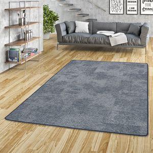 Streifenberber Teppich Lines Blau Meliert, Größe:160x200 cm