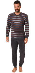 Langer Herren Frottee Pyjama Schlafanzug mit Bündchen - Streifenoptik - 291 101 13 649, Farbe:anthrazit, Größe:54