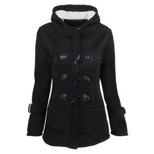 Damen Horn Schnalle wattierte Manteljacke Winter Windbreaker Jacke Top,Farbe: Schwarz,Größe:S