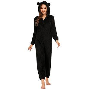 Winter Damen Langarm Pyjama Fleece Pyjamas ,Niedliche Stück Pyjama, Kapuze Warm Jumpsuit Nachtwaesche Weihnachten Homewear[Schwarz-3XL]