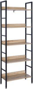 WOLTU RGB9303she Standregal Hochregal Bücherregal Schuhregal aus Holz und Stahl, mit 5 Ablagen, 60x27,5x160cm, Schwarz + hell Eiche
