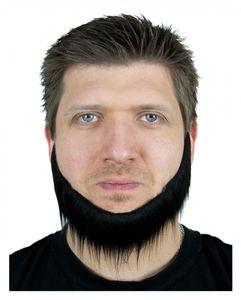 Schwarzer Backen-Kinn-Bart 23cm für Fasching & Halloween