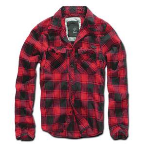 Brandit - Checkshirt red black Herren Hemd black grey Karo rot schwarz