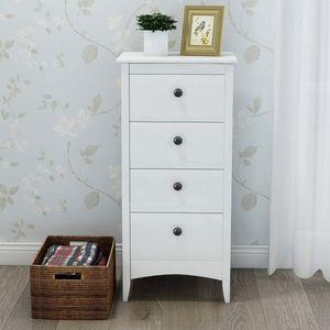 Merax Kommode Schrank 45 x 45 x 94 cm Schubladenschrank Beistelltisch mit 4 Schublade, Sideboard Schubladenkommode für Wohnzimmer Schlafzimmer, Weiß