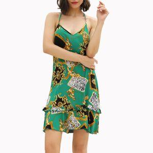 Damenmode Urlaub Prints Hängender Hals Rückenfreies V-Ausschnitt Freizeitkleid Farbe:Grün,Größe:L