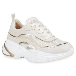 Mytrendshoe Damen Plateau Sneaker Metallic Chunky Turnschuhe Freizeit Schnürer 834203, Farbe: Beige Gold, Größe: 38