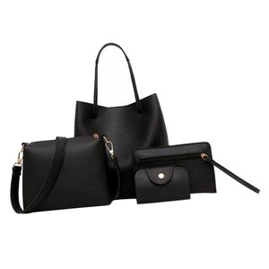 4-teilige Lederhandtasche Schultertasche Handtasche Messenger Satchel Set Schwarz Farbe Schwarz