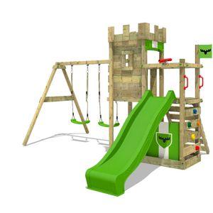 FATMOOSE Spielturm Ritterburg BoldBaron mit Schaukel & apfelgrüner Rutsche, Spielhaus mit Sandkasten, Leiter & Spiel-Zubehör