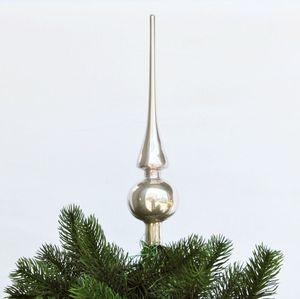Christbaumspitze Echt Glas 26 x 6 cm Glanz oder Matt Weihnachtsbaum Spitze, Farbe:Flieder