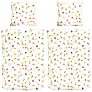 4 tlg. Microfaser Bettbezug mit Blumen Design Bettgarnitur Bettwäsche 135x200