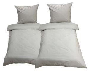 4tlg Bettwäsche 135x200 Grau Uni Decke Kissen Bezug Set mit Reißverschluss