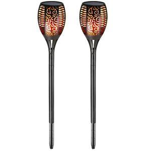 Monzana 2er Set Gartenfackel Solar 96 LED Flackernde Flamme mit/ohne USB Solarleuchte Flammenlicht Gartenleuchte Garten Balkon, Model:2er Set mit USB