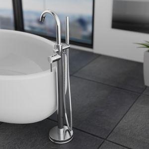 Schütte Design-Wannenfüllarmatur CORNWALL freistehend Einhebelmischer inklusive Handbrause Badarmatur Chrom 75800