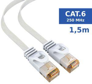 mumbi LAN Kabel 1,5m CAT 6 Netzwerkkabel Flachkabel CAT6 Ethernet Kabel Patchkabel Flachbandkabel RJ45 1,5Meter, weiss