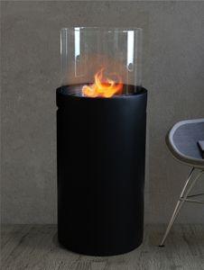 Ethanol Kamin Stand Ø 34 cm x 86,5 cm schwarz 1L Ethanolkamin Glasfeuer Ofen