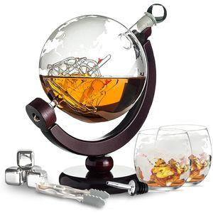 Whisiskey® Whisky Karaffe - Globus - Whiskey Set - 900ML – Inkl. 4 Edelstahle Whisky Steine, 2 Whisky Gläser & Ausgießer - Whisky Dekanter - Geschenke für Männer – Whiskygläser
