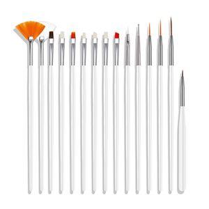 15 stš¹cke Nagelbš¹rste Kit Nail art Tipps UV Gel Nagel Builder Pinsel fš¹r Nail art Design Malerei Pen Set Nagel Werkzeug