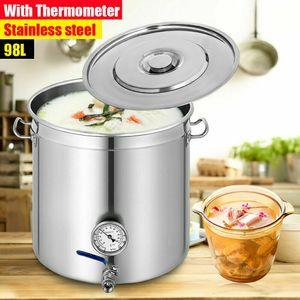 Kochtopf Edelstahl Suppentopf 98L Kessel mit Deckel Thermometer 25.8 Gal Wasserhahn Soßentopf Sudtopf Gemüsetopf Für Suppen