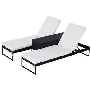 Outsunny Gartenliege, Relaxliege für 2 Personen, 3-teiliger Set, Doppelliege mit Beistelltisch, 5-stufige Rückenlehne, Metall, PE Rattan, Creme, 195 x 60 x 86 cm
