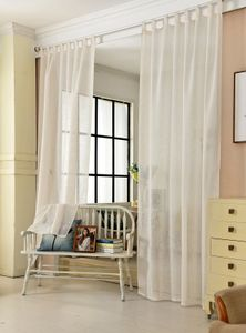 WOLTU VH5863cm, Gardinen transparent mit Schlaufen Leinen Landhaus Optik, Schlaufenschal Vorhang, 140x245 cm, Crème, (1 Stück)