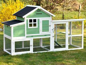 nanook Hühnerstall Hühnerkäfig mit Legebox - grün - 188 x 63 x 115 cm