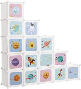 SONGMICS Kinderregal mit 16 Fächern und Türen 123 x 31 x 123 cm Kinderschrank aus Kunststoff weiß LPC902W