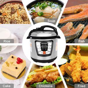 Bigzzia Dampfkochtopf | Reiskocher | Pressure Cooker | Slow Cooker | Schnellkochtopf 6liter | Warmhaltefunktion | Edelstahl | 1000 W | Silber und Schwarz