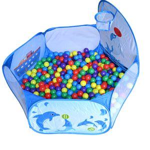 Kinder Bällebad, Pop Up Baby Kugelbad Outdoor mit Mini Basketballkorb Bällepool Bällebecken Spielbälle Kugelbad Bällchenbad Spielbecken für drinnen und draußen 120cm inch - Blau