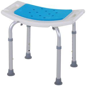 HOMCOM Duschstuhl Badehocker 6-stufig einstellbar Badestuhl Duschsitz Badehilfe Aluminium-Legierung PE EVA Blau+Weiß+Silber 52 x 30 x 39-51 cm