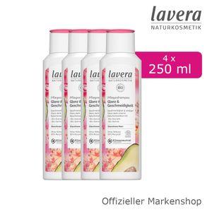 4x250ml lavera Pflegeshampoo Glanz & Geschmeidigkeit Shampoo Bio-Avocado Quinoa