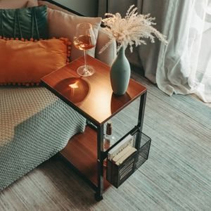 Beistelltisch mit Rädern,Abnehmbarer Beistelltisch im Retro-Holzstil,geeignet für kleine Räume, Schlafzimmer, Wohnzimmer, Wohnheim, Büro