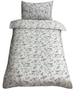 Bettwäsche 140x200 + 70x90 cm Baumwolle Blumen beige grau mit Reißverschluss, 2-tlg