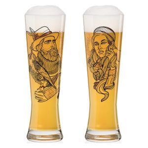 Ritzenhoff Black Label Weizenbierglas-Set Vladimir Bott, Falconer & Lumberjack, Weizenglas, mit drei Klebetattoos, Kristallglas, 669 ml, 3430001