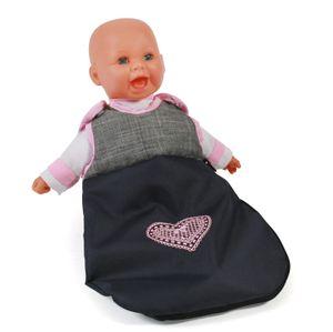 Puppen-Schlafsack, melange grau-navy