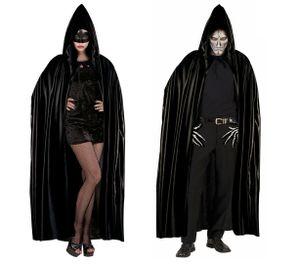 Langer schwarzer Umhang 140 cm - Cape Vampir Umhänge Dracula Fasching
