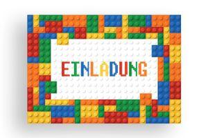 Friendly Fox Einladung Bausteine - 12 Einladungskarten zum Geburtstag Kinder Junge Mädchen - Partyeinladung Building Bricks Bauklötze