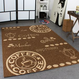 In- & Outdoor Teppich Modern Flachgewebe Sisal Optik Coffee Braun Beige Töne, Grösse:80x200 cm