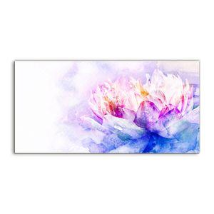 Coloray Glasbild 120x60  Wandbild Glasbilder Foto Kunstdruck groß Aquarell der Blume