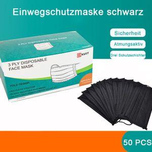 50X 3-lagig schwarz atemschutzmasken Einwegmaske mundschutz Vliesmaske masken mundschutz schwarz Maske