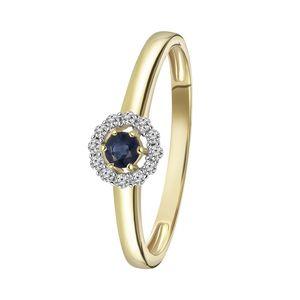 Gelbgold-Ring mit Saphir und 12 Diamanten -  52