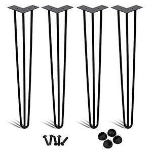 karpal 4x Haarnadel Tischbeine Metall Hairpin Legs Heavy Duty Modern-Stil Schreibtisch Beine Moebelfuesse Austauschbare Tisch und Schrank Beine Durchmesser 12 mm Schwarz 16 Zoll (40 cm)